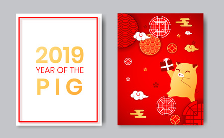 2019 Year of the Pig chinese zodiac sign flat cartoon character,asian chinese traditional backdrop circles,flowers,clouds.Happy New Year greeting card,Oriental asians chinese style background elements