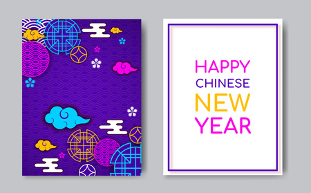 2019 Year of the Pig chinese zodiac year,oriental chinese backdrop traditional circles,flowers,clouds.Happy New Year greeting card,web online concept,asian style background elements