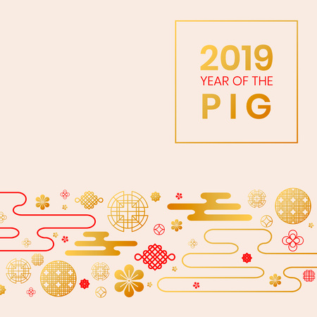 2019 Year of the Pig zodiac year of China,oriental chinese gold backdrop traditional circles,flowers,clouds.Happy New Year greeting card,web online concept,asian style golden background elements