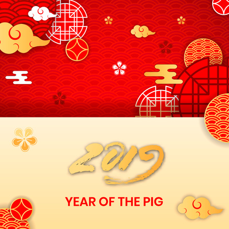 2019 Year of the Pig zodiac year of China,oriental chinese backdrop traditional circles,flowers,clouds.Happy Chinese New Year greeting card,web online concept,asian style background elements