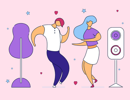 Colorful modern cartoon flat characters dancing on music fest,concert,open air,party,hand drawn style.Flat small people cartoon woman and man rocking,dance,having happy fun time together
