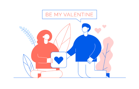 Valentines day romantic people couple of man and woman lovers in blue and trendy lining coral colours flat line style design concept with big modern characters. Love gift card illustration