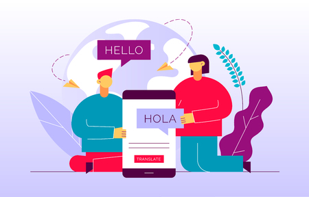 Vector flat translation design concept of  big modern people, holding smartphone with word Hello in spanish. Trendy language courses, translation agency illustration with earth globe and leaves.