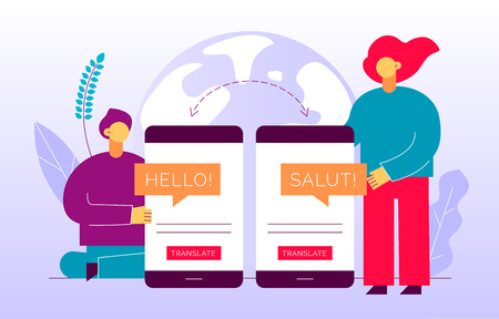 Vector flat translation design concept of big modern people, holding smartphone with word Hello in French. Trendy language courses, translation agency illustration with earth globe and leaves.