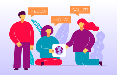 Vector flat translation design concept of  big modern people with word Hello in English, Spanish and French. Trendy language courses, translation agency illustration with earth globe and leaves. Illustration