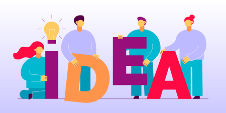 Vector flat style business teamwork  design concept with big modern people, light bulb. Trendy brainstorming  illustration with men and women and idea letters.
