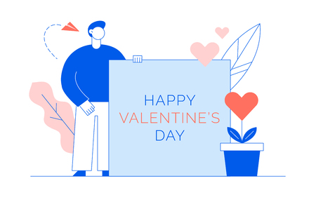 Valentines day romantic man lover in blue and trendy lining coral colours flat line style design concept with big modern character. Love gift card illustration