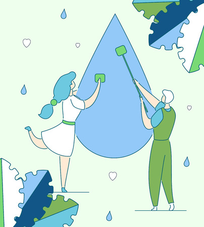 Colorful modern flat cartoon characters business cleaning,preservation,analysis,clean water production concept.Hand drawn outline character little people work-purificating,clearing,purging water drop