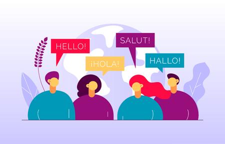Vector flaches Übersetzungskonzept von großen modernen Menschen, die verschiedene Sprachen sprechen. Trendige Sprachkurse, Übersetzungsagenturillustration mit Erdkugel, Wort hallo auf Spanisch, Französisch, Deutsch.
