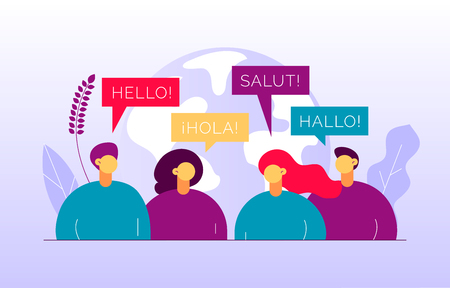 Vector flat translation concept of  big modern people,speaking different languages.Trendy language courses, translation agency illustration with earth globe, word hello in Spanish,French,German. Ilustração