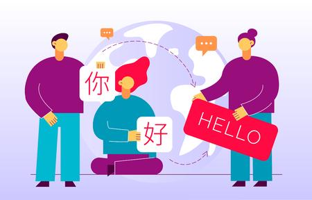Vector flaches Übersetzungsdesignkonzept von großen modernen Menschen, die Karten mit dem Wort Hallo in Chinesisch und Englisch halten. Trendige Sprachkurse, Übersetzungsagentur Illustration mit Erdkugel.