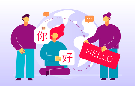 Vector flat translation design concept of  big modern people, holding cards with word Hello in chinese and english. Trendy language courses, translation agency illustration with earth globe. Ilustração
