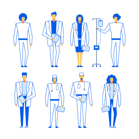 Online help consultation web service doctor characters set,modern flat design healthcare medicine concept.Medical team experts diversity-intern,physician,MD,men and women specialists in medic uniform