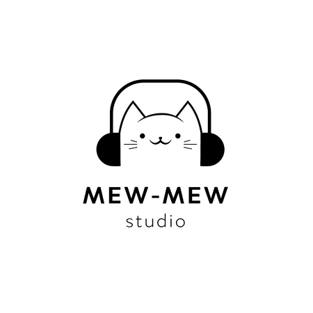 Vector black minimal cat head logo element design template. Music studio funny cartoon animal mascot character icon, sign for audio business Vectores
