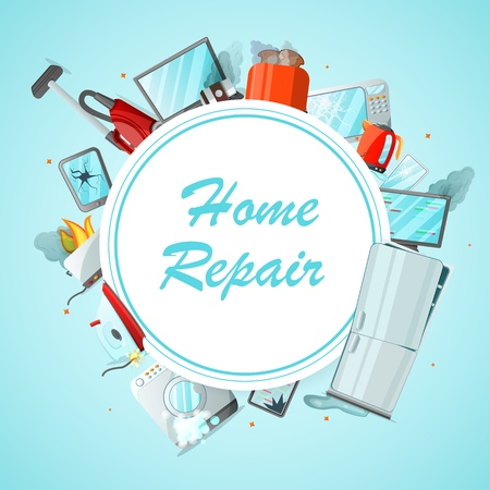 Modern cartoon flat home repair service concept-damaged consumer electronics appliances around ready to use copy space.Small business banner flyer concept-different broken household goods Illusztráció