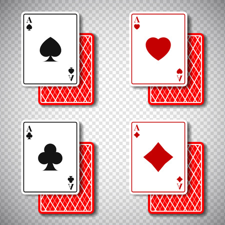 Holdem classic poker casino cards 4 suits in realistic style,big win jackpot game casinos concept on transparent background.Gambling Business mockup banner flyer design,web online concept Illusztráció