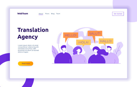 Vector flat line translation concept of big modern people,speaking different languages.Trendy language courses, translation agency illustration with earth globe, word hello in Spanish,French,German.