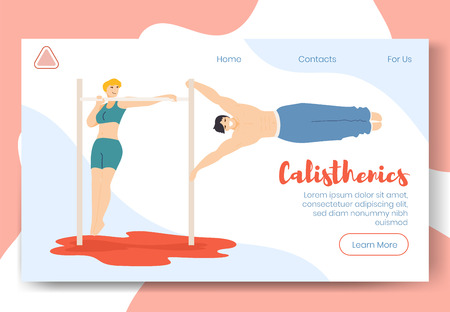 Modern cartoon flat characters family doing modern sport activity,landing page banner web online concept of healthy lifestyle,ready to use design.Flat smiling people training calisthenics on beach Ilustração