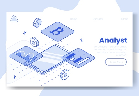 Digital isometric design concept set of 3d icons for internet analyst app.Isometric financial business analysis infographics,graphs,bitcoin icon,diagram on landing page banner web online concept
