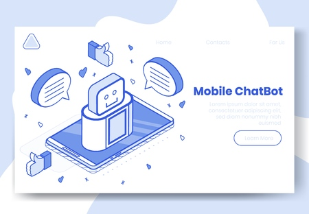 Digital isometric design concept set of mobile chat bot app 3d icons.Isometric social marketing symbols,internet robot,thumb up,heart icon,speech bubble on landing page banner web online concept Illustration