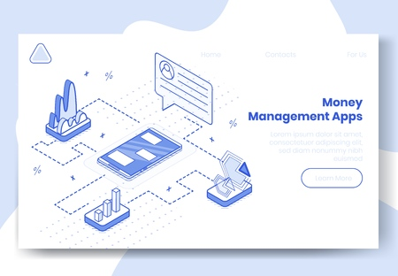 Digital design isometric concept set of 3d icons for money managment app.Isometric business finance symbols-infographics,graphs,user profile,diagrams on landing page banner web online concept Ilustração