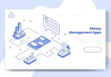 Digital design isometric concept set of 3d icons for money managment app.Isometric business finance symbols-infographics,graphs,user profile,diagrams on landing page banner web online concept Illustration