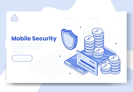 Digital design isometric concept set of 3d icons for mobile security app.Isometric business finance symbols-credit card,coins,money protection shield on landing page banner web online concept