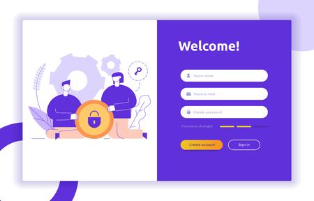 Koncepcja i ilustracja projektu UI UX z dużymi nowoczesnymi ludźmi, ikonami prywatności, danymi wejściowymi, formularzami. Wektor interfejsu użytkownika strony internetowej zaloguj się, zarejestruj szablon formularza. Internetowy rejestr internetowy. Ilustracje wektorowe