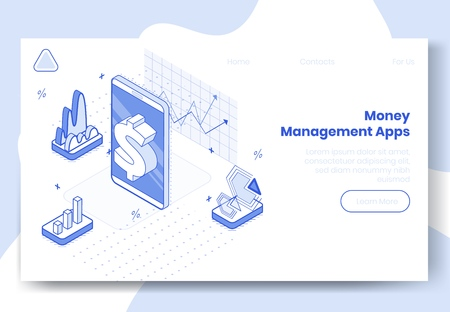 Digital design isometric concept set of 3d icons for money managment app.Isometric business finance symbols-mobile phone,infographics,graphs,dollar,diagrams on landing page banner web online concept