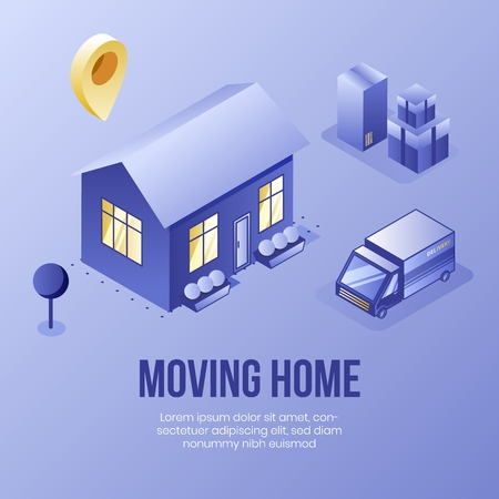 Digital isometric design concept scene of moving home helping app 3d icons.Business social illustration-isometric house,garden,truck car,package boxes,geo tag on landing page banner web online concept Stock Illustratie