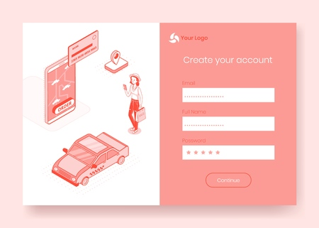 Digital isometric design concept scene of mobile taxi booking service app 3d icons,ready to use sign in,create account,registration online form.Isometric business finance symbols,web online concept