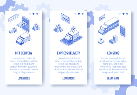 Digital isometric design concept set of online logistics delivery service mobile app screen vertical banners.Isometric social business scenes-mobile phone,car,truck,boxes,bank card,web online concept