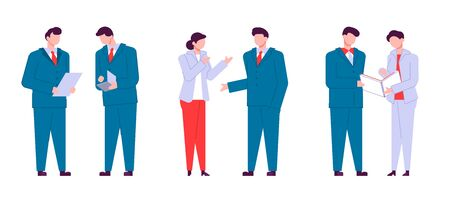 Modern cartoon flat people characters talking, colourful contour style. Colorful character people in conversation. Business people.  イラスト・ベクター素材
