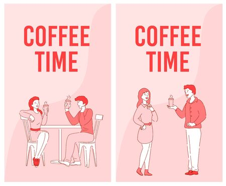 Coffee time advertising flyer set. People colleague coworker chatting talking, having nice conversation drinking. Business communication. Man lover treating hot beverage woman on love dating, meeting