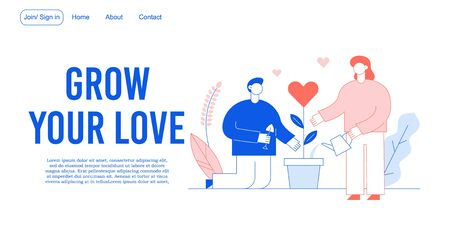 Romantic relation, charity kindness acts landing page. Supporting, volunteers work. Grow your love design. Man woman couple lover planting, watering heart flower. Family relationship development