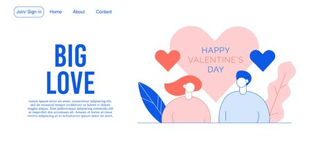 Happy valentine day celebration. People character in love landing page romantic heart design. Relation ship, friendship, communication. Online service. Proposal, engagement, anniversary celebration