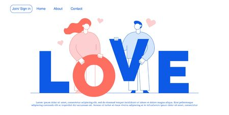 Love, romance, relationship promotion landing page. Girlfriend boyfriend holding letter making word. Happy young loving people. Saint valentine day celebration. Online dating relation creation service Ilustrace