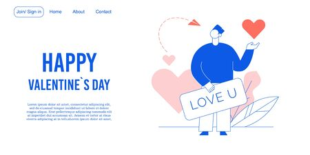 Digital love declaration on valentine day landing page. Happy loving man holding greeting card for girlfriend invitation. Messaging, texting, sending romantic words on holiday via social network
