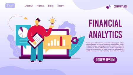 Analysis trends financial strategy landing page concept Ilustrace