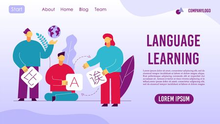 Language learning online service landing page concept Ilustrace