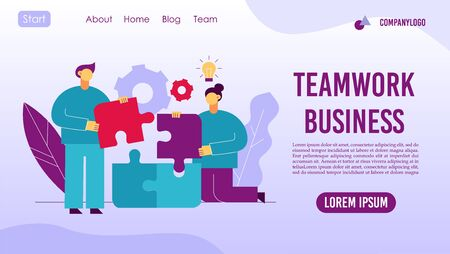 Teamwork business management workflow web page concept