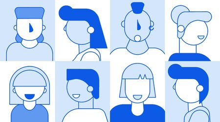 People faces avatar template set for social media network video account profile creation. Different nationality man woman character showing pensive, smile, serious, surprise emotion portrait