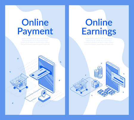 Online payment. Financial analytics, digital finance mobile service, e-bank. Earnings on cash back rewards, gift from internet shopping. Ecommerce, wireless payments transfer. Isometric 3d set Ilustrace