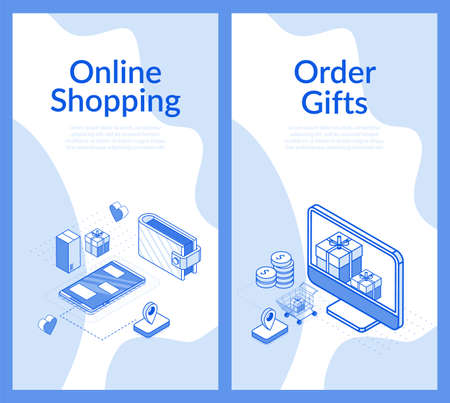 Online shopping order gifts isometric design set. Internet marketplace mobile application offering wireless international payment by smartphone, delivery service. Digital marketing. Promotion poster