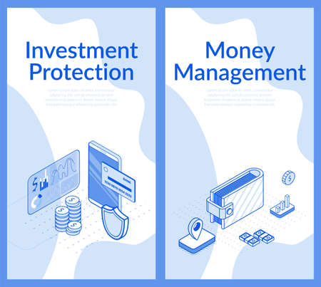 Investment protection, money management poster. Online banking capital accounting mobile service. Electronic funds transfers. Payment security data, transactions protection. Isometric 3d design set