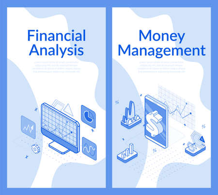 Financial analysis money management. Finance accounting audit, tax inspection report, economy calculation review. Business service on computer. Counting profit, income mobile app. Isometric 3d set