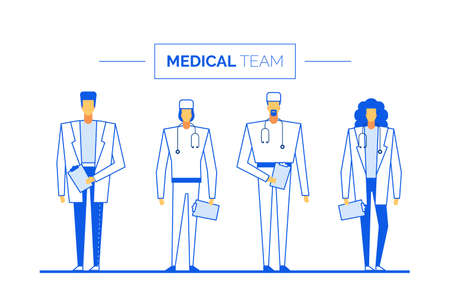 Practitioner doctor surgeon medical team clinic staff. Hospital health profession people group. Healthcare medicine insurance. Consultation, diagnosis, treatment. Medic in uniform hold patient card