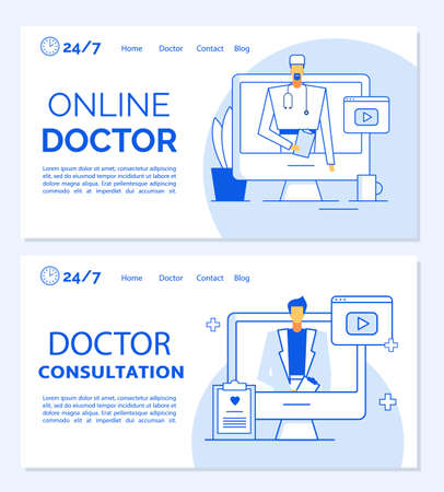 Online doctor consultation medical landing page template set. Remote appointment, professional clinic helpline, patient first aid, diagnosis, examination service. Telemedicine. Virtual healthcare