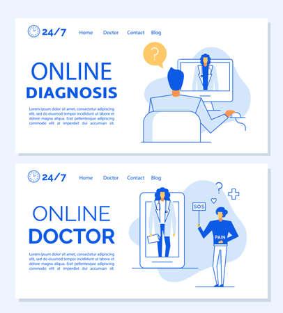 E-health digital clinic service landing page set. Online doctor, remote examination diagnosis disease determination. Medical video tutorial. Telemedicine. Virtual medic helpline for patient at home Vettoriali