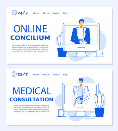 Online concilium medical consultation. Telemedicine, remote healthcare, distance doctor appointment, professional clinic helpline. Smart medicine. Internet hospital services. Landing page template set
